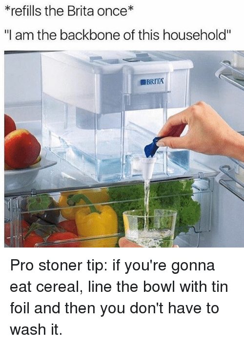"""Cereally: *refills the Brita once*  """"I am the backbone of this household"""" Pro stoner tip: if you're gonna eat cereal, line the bowl with tin foil and then you don't have to wash it."""