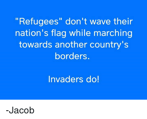 """Memes, 🤖, and Another: """"Refugees"""" don't wave their  nation's flag while marching  towards another country's  borders.  Invaders do! -Jacob"""