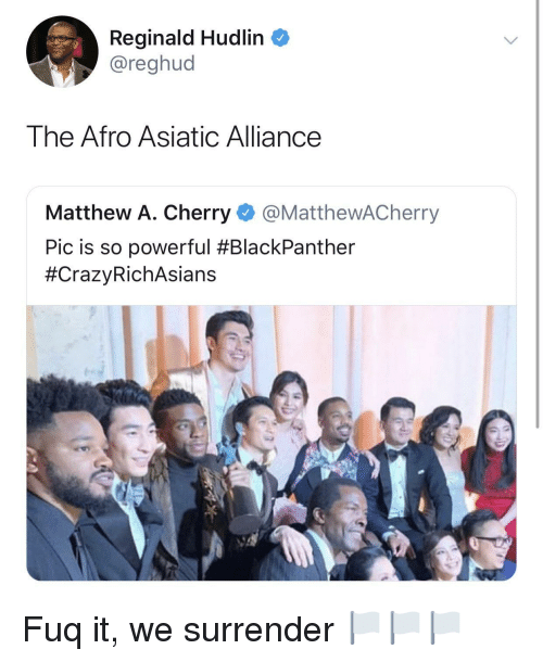 Powerful, Afro, and Alliance: Reginald Hudlin  @reghud  The Afro Asiatic Alliance  Matthew A. Cherry @MatthewACherry  Pic is so powerful Fuq it, we surrender 🏳️🏳️🏳️