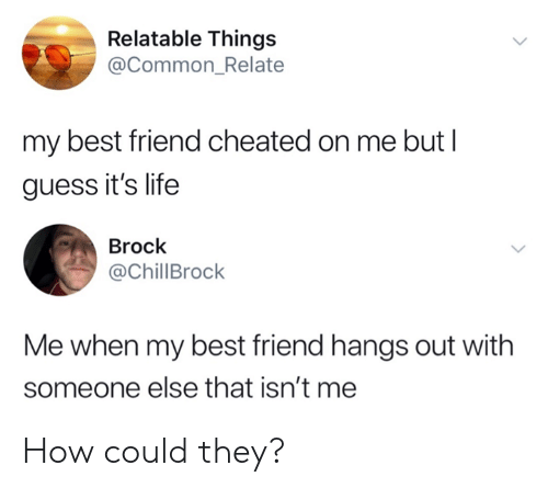 Best Friend, Dank, and Life: Relatable Things  @Common_Relate  my best friend cheated on me but l  guess it's life  Brock  @ChillBrock  Me when my best friend hangs out with  someone else that isn't me How could they?
