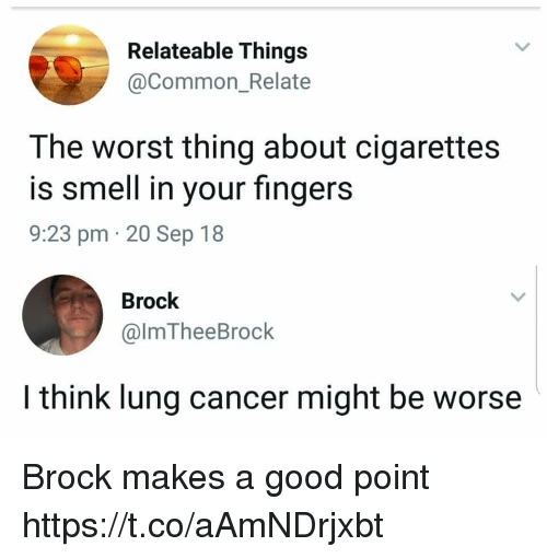 Funny, Smell, and The Worst: Relateable Things  @Common_Relate  The worst thing about cigarettes  is smell in your fingers  9:23 pm 20 Sep 18  Brock  @lmTheeBrock  I think lung cancer might be worse Brock makes a good point https://t.co/aAmNDrjxbt