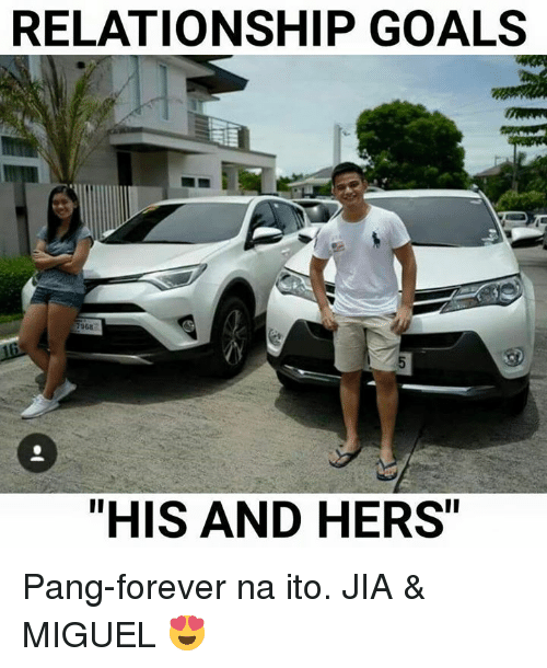 """Miguels: RELATIONSHIP GOALS  7968  """"HIS AND HERS Pang-forever na ito. JIA & MIGUEL 😍"""