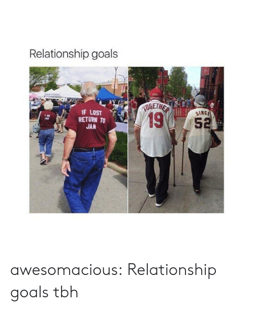 Relationship Goals: Relationship goals  IF LOST  SINC  19  RETURN TO  5  JAN awesomacious:  Relationship goals tbh