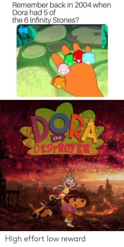 Dora: Remember back in 2004 when  Dora had 5 of  the 6 Infinity Stones?  the  u/littymati High effort low reward
