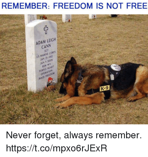 k-9: REMEMBER: FREEDOM IS NOT FREE  ADAM LEIGH  CANN  SGT  US MARINE CORSS  JAN 5 2006  PURPLE HEART  OPERATION  IRAOI FREEDOM  K-9 Never forget, always remember. https://t.co/mpxo6rJExR