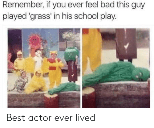Bad, School, and Best: Remember, if you ever feel bad this guy  played 'grass' in his school play. Best actor ever lived