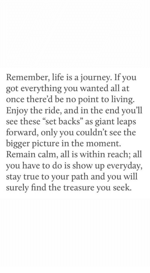 """Journey, Life, and True: Remember, life is a journey. If you  got everything you wanted all at  once there'd be no point to living.  Enjoy the ride, and in the end you'll  see these """"set backs"""" as giant leaps  forward, only you couldn't see the  bigger picture in the moment.  Remain calm, all is within reach; all  you have to do is show up everyday,  stay true to your path and you will  surely find the treasure vou seek.  05"""