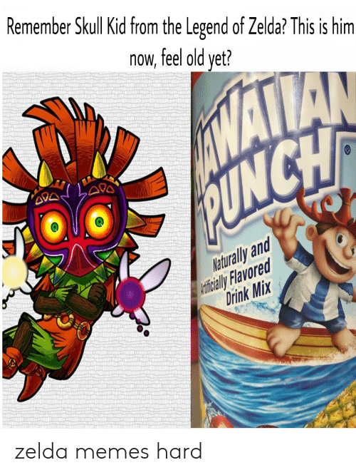 Memes, Reddit, and Skull: Remember Skull Kid from the Legend of Zelda? This is him  now  feel old yet?  INANA  PUNCH  TO  Naturally and  Ceticial Flavored  Drink Mix zelda memes hard