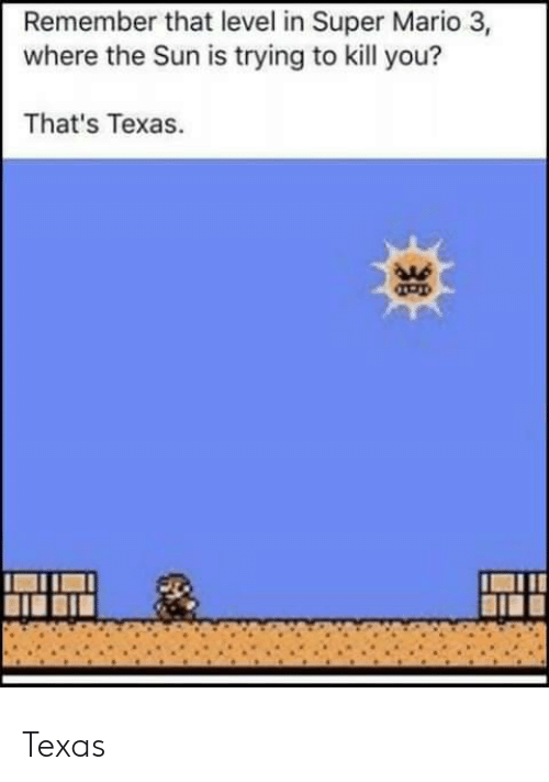 Super Mario: Remember that level in Super Mario 3,  where the Sun is trying to kill you?  That's Texas.  As Texas