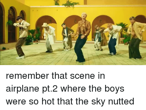 Airplane, Boys, and Sky: remember that scene in airplane pt.2 where the boys were so hot that the sky nutted
