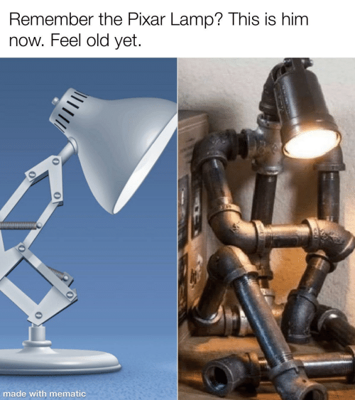 remember: Remember the Pixar Lamp? This is him  now. Feel old yet.  made with mematic