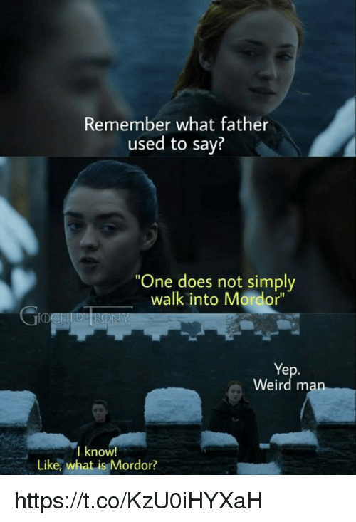 """Weird, What Is, and One: Remember what father  used to say?  One does not simply  walk into Mordor""""  ID  Ye  Weird m  I know!  Like, what is Mordor? https://t.co/KzU0iHYXaH"""