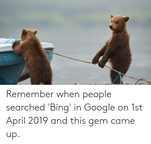 April: Remember when people searched 'Bing' in Google on 1st April 2019 and this gem came up.