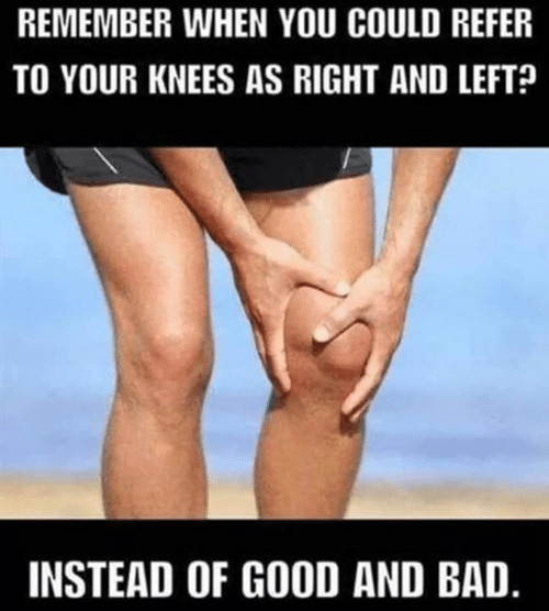 Bad, Memes, and Good: REMEMBER WHEN YOU COULD REFER  TO YOUR KNEES AS RIGHT AND LEFT  INSTEAD OF GOOD AND BAD