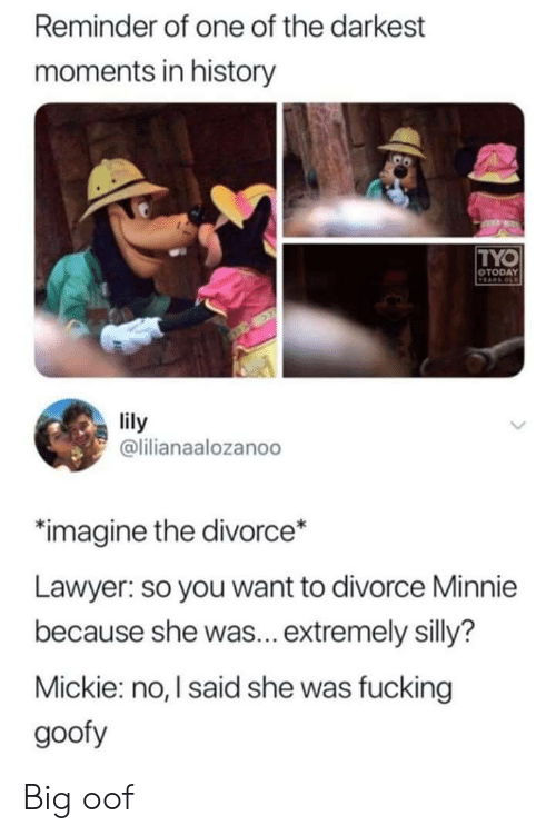 Fucking, Lawyer, and History: Reminder of one of the darkest  moments in history  TYO  OTODAY  VEARS OLD  lily  @lilianaalozanoo  imagine the divorce*  Lawyer: so you want to divorce Minnie  because she was... extremely silly?  Mickie: no, I said she was fucking  goofy Big oof