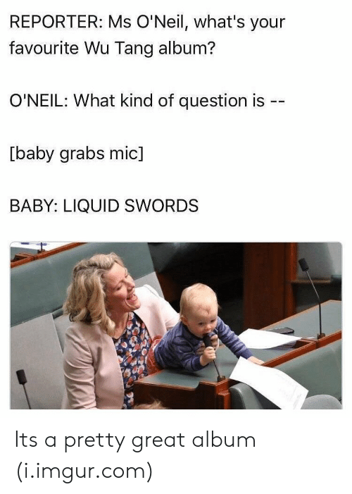 wu tang: REPORTER: Ms O'Neil, what's your  favourite Wu Tang album?  O'NEIL: What kind of question is --  [baby grabs mic]  BABY: LIQUID SWORDS Its a pretty great album (i.imgur.com)