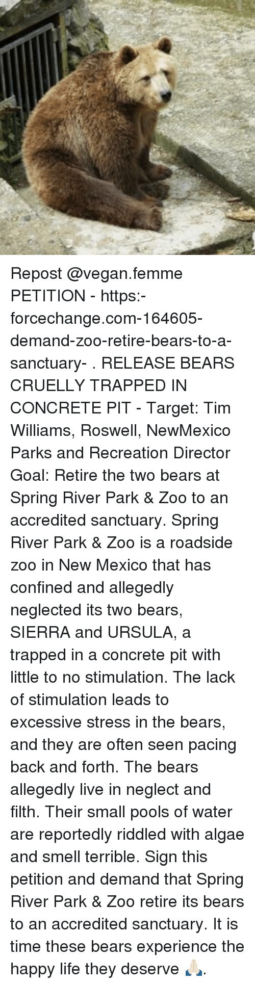 park and recreation: Repost @vegan.femme ・・・ PETITION - https:-forcechange.com-164605-demand-zoo-retire-bears-to-a-sanctuary- . RELEASE BEARS CRUELLY TRAPPED IN CONCRETE PIT - Target: Tim Williams, Roswell, NewMexico Parks and Recreation Director Goal: Retire the two bears at Spring River Park & Zoo to an accredited sanctuary. Spring River Park & Zoo is a roadside zoo in New Mexico that has confined and allegedly neglected its two bears, SIERRA and URSULA, a trapped in a concrete pit with little to no stimulation. The lack of stimulation leads to excessive stress in the bears, and they are often seen pacing back and forth. The bears allegedly live in neglect and filth. Their small pools of water are reportedly riddled with algae and smell terrible. Sign this petition and demand that Spring River Park & Zoo retire its bears to an accredited sanctuary. It is time these bears experience the happy life they deserve 🙏🏻.