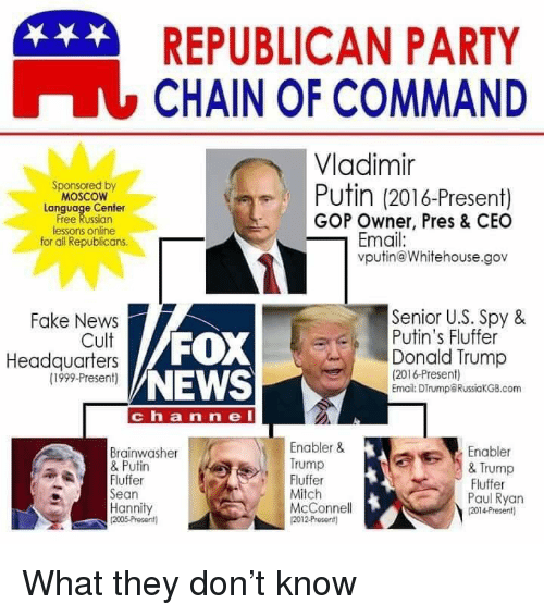 Donald Trump, Fake, and News: REPUBLICAN PARTY  LCHAIN OF COMMAND  Vladimir  Sponsored by  MOSCOW  Lanquage Center  Free Russian  lessons online  for all Republicans.  Putin (2016-Present)  GOP Owner, Pres & CEO  Email:  vputin@Whitehouse.gov  Senior U.S. Spy &  Fake News  Cult  Headquarters  (1999-Present)  Putin's Fluffer  FOX  NEWS  Donald Trump  (2016-Present  Email: DTrump@RussiakGB.com  chan ne l  Enabler&  Trump  Fluffer  Mitch  McConnel  2012Present)  Enabler  & Trump  Fluffer  Paul Ryan  2014-Presen  Brainwasher  & Putin  AEFluffer  Sean  Hannity  2005-Present)