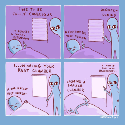 denied: REQUEST  TIME To BE  FULLY CONSCIOUS  DENIED  A FEW HUNDRED  MORE SECONDS  I REQUES T  A SMALL  EXTENSION  7.  I ADMIT  ILLUMINATING YOUR  REST CHAMBER  THAT WAS  RESOURCEFUL  CREATING A  SMALLER  A ONE PERCENT  REST INCREA  CHAMBER  NATHANWPYLE