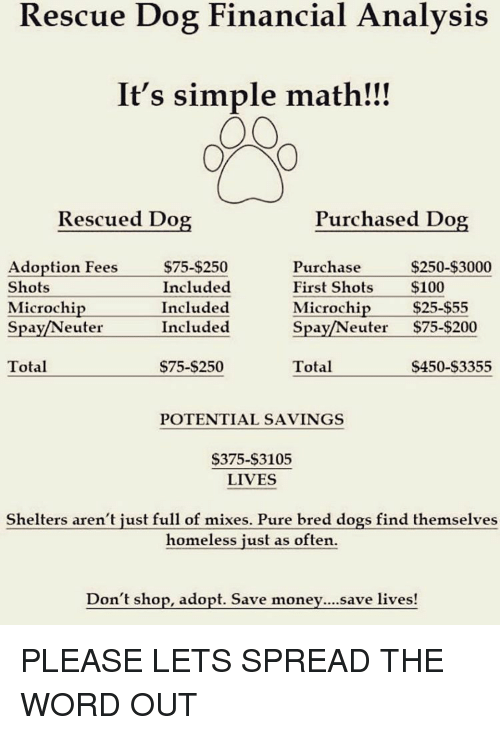 Homeless, Math, and Girl Memes: Rescue Dog Financial Analysis  It's simple math!!!  Rescued Do  Purchased Dog  Adoption Fees  $250-$3000  $75-$250  Purchase  Shots  Included  First Shots  $100  Microchip  Included  Microchip  $25-$55  Included  Neuter  $75-$200  Spa  Spa  Total  $75-$250  $450-$3355  Total  POTENTIAL SAVINGS  $375-$3105  LIVES  Shelters aren't just full of mixes. Pure bred dogs find themselves  homeless just as often.  Don't shop, adopt. Save save lives PLEASE LETS SPREAD THE WORD OUT