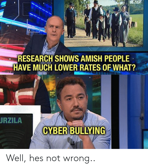 amish: RESEARCH SHOWS AMISH PEOPLE  AVE MUCH LOWER RATES OF WHAT?  URZILA  CYBER BULLYING Well, hes not wrong..