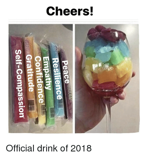 resilience: Resilience  Confidence  Self-Compassion  Gratitude <p>Official drink of 2018</p>