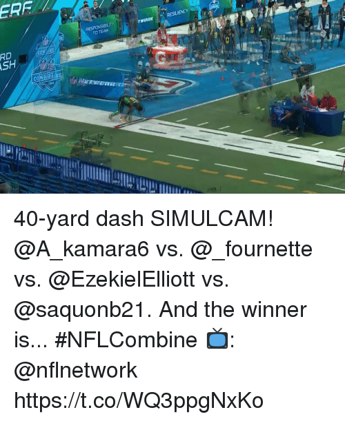The Winner Is: RESILIENCY  TO TEAM  RD 40-yard dash SIMULCAM!  @A_kamara6 vs. @_fournette vs. @EzekielElliott vs. @saquonb21.  And the winner is...  #NFLCombine  📺: @nflnetwork https://t.co/WQ3ppgNxKo