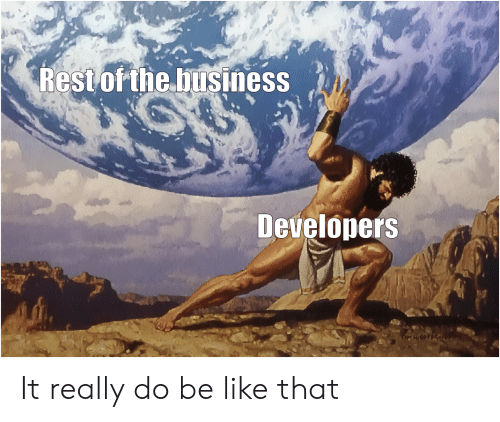 Be like: Rest of the business  Developers It really do be like that