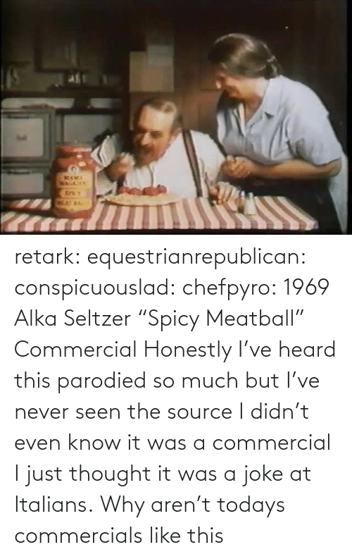"heard: retark:  equestrianrepublican:  conspicuouslad:  chefpyro:  1969 Alka Seltzer ""Spicy Meatball"" Commercial  Honestly I've heard this parodied so much but I've never seen the source  I didn't even know it was a commercial I just thought it was a joke at Italians.  Why aren't todays commercials like this"