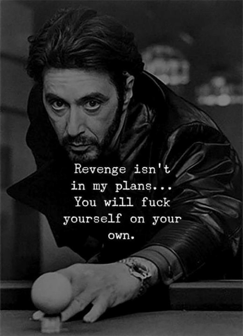 Revenge, Will, and Own: Revenge isn't  in my plans...  You will fuck  yourself on your  own