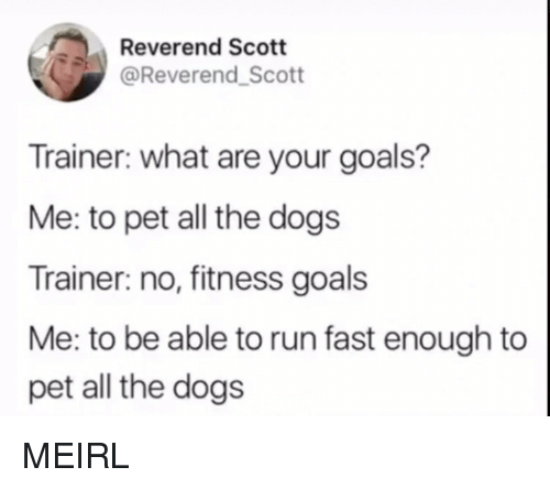 Dogs, Goals, and Run: Reverend Scott  @Reverend_Scott  Trainer: what are your goals?  Me: to pet all the dogs  Trainer: no, fitness goals  Me: to be able to run fast enough to  pet all the dogs MEIRL