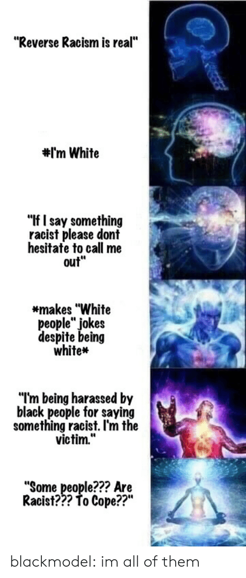"""Being White: """"Reverse Racism is real""""  #I'm White  """"If I say something  racist please dont  hesitate to call me  out""""  *makes """"White  people"""" jokes  despite being  white*  """"I'm being harassed by  black people for saying  something racist. l'm the  victim.""""  """"Some people??? Are  22""""  Racist??? To Cope??"""" blackmodel:  im all of them"""