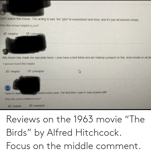 """Reviews: Reviews on the 1963 movie """"The Birds"""" by Alfred Hitchcock. Focus on the middle comment."""