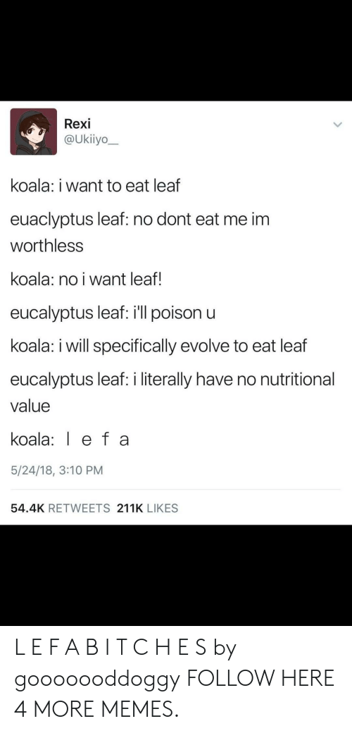 Nutritional: Rexi  @Ukiiyo  koala: i want to eat leaf  euaclyptus leaf: no dont eat me im  worthless  koala: no i want leaf!  eucalyptus leaf: ill poison u  koala: i will specifically evolve to eat leaf  eucalyptus leaf: i literally have no nutritional  value  koala: ef a  5/24/18, 3:10 PM  54.4K RETWEETS 211K LIKES L E F A B I T C H E S by gooooooddoggy FOLLOW HERE 4 MORE MEMES.