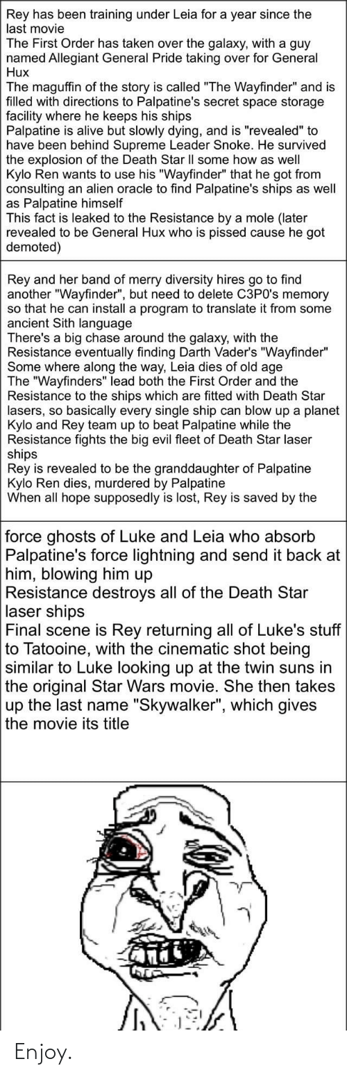 """Final Scene: Rey has been training under Leia for a year since the  last movie  The First Order has taken over the galaxy, with a guy  named Allegiant General Pride taking over for General  Hux  The maguffin of the story is called """"The Wayfinder"""" and is  filled with directions to Palpatine's secret space storage  facility where he keeps his ships  Palpatine is alive but slowly dying, and is """"revealed"""" to  have been behind Supreme Leader Snoke. He survived  the explosion of the Death Star Il some how as well  Kylo Ren wants to use his """"Wayfinder"""" that he got from  consulting an alien oracle to find Palpatine's ships as well  as Palpatine himself  This fact is leaked to the Resistance by a mole (later  revealed to be General Hux who is pissed cause he got  demoted)  Rey and her band of merry diversity hires go to find  another """"Wayfinder"""", but need to delete C3PO's memory  so that he can install a program to translate it from some  ancient Sith language  There's a big chase around the galaxy, with the  Resistance eventually finding Darth Vader's """"Wayfinder""""  Some where along the way, Leia dies of old age  The """"Wayfinders"""" lead both the First Order and the  Resistance to the ships which are fitted with Death Star  lasers, so basically every single ship can blow up a planet  Kylo and Rey team up to beat Palpatine while the  Resistance fights the big evil fleet of Death Star laser  ships  Rey is revealed to be the granddaughter of Palpatine  Kylo Ren dies, murdered by Palpatine  When all hope supposedly is lost, Rey is saved by the  force ghosts of Luke and Leia who absorb  Palpatine's force lightning and send it back at  him, blowing him up  Resistance destroys all of the Death Star  laser ships  Final scene is Rey returning all of Luke's stuff  to Tatooine, with the cinematic shot being  similar to Luke looking up at the twin suns in  the original Star Wars movie. She then takes  up the last name """"Skywalker"""", which gives  the movie its title Enjoy."""