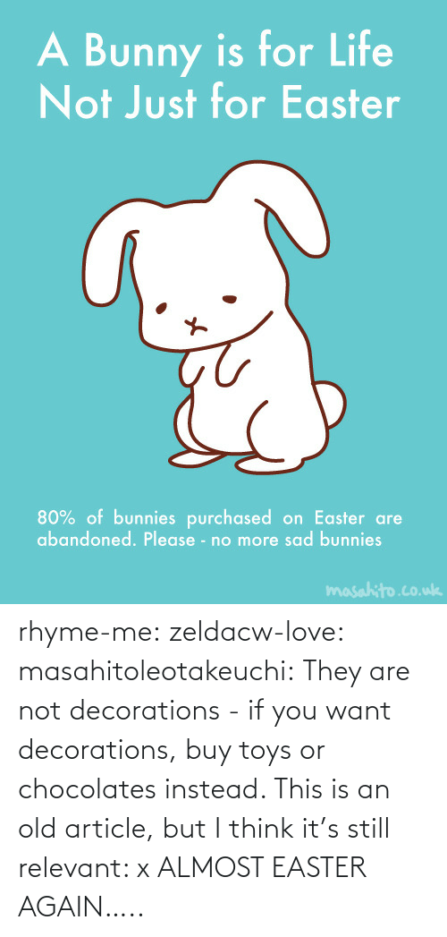 Easter: rhyme-me:  zeldacw-love:  masahitoleotakeuchi:  They are not decorations - if you want decorations, buy toys or chocolates instead.  This is an old article, but I think it's still relevant: x  ALMOST EASTER AGAIN…..