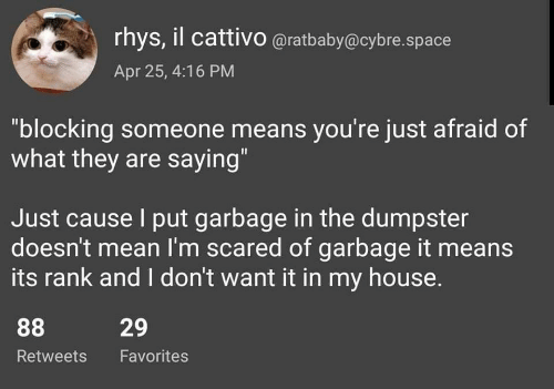 """Blocking: rhys, il cattivo @ratbaby@cybre.space  Apr 25, 4:16 PM  """"blocking someone means you're just afraid of  what they are saying""""  Just cause I put garbage in the dumpster  doesn't mean I'm scared of garbage it means  its rank and I don't want it in my house.  29  Retweets Favorites"""