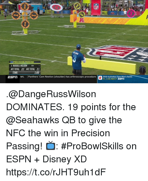 Cam Newton, Disney, and Espn: RI  PRECISION PASSING  3 RUSSELL WILSON SEA  AFC TOTAL: 22 NFC TOTAL: 21  TIME:  1:00  EST  NFL Panthers' Cam Newton (shoulder) has arthroscopic procedure  2019 stralian Open Men's Semis  Fri. 3:30 AM ET ESrT .@DangeRussWilson DOMINATES.  19 points for the @Seahawks QB to give the NFC the win in Precision Passing!  📺: #ProBowlSkills on ESPN + Disney XD https://t.co/rJHT9uh1dF