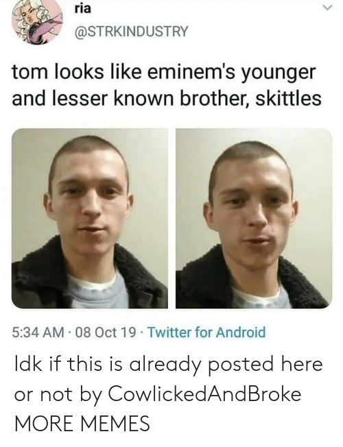 Android, Dank, and Memes: ria  @STRKINDUSTRY  tom looks like eminem's younger  and lesser known brother, skittles  5:34 AM 08 Oct 19 Twitter for Android Idk if this is already posted here or not by CowlickedAndBroke MORE MEMES