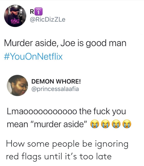 "the fuck: @RicDizZLe  Murder aside, Joe is good man  #YouOnNetflix  DEMON WHORE!  @princessalaafia  Lmaooo00oo000o the fuck you  mean ""murder aside"" How some people be ignoring red flags until it's too late"