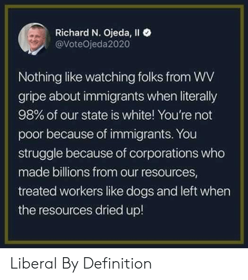 liberal: Richard N. Ojeda, Il  @VoteOjeda2020  Nothing like watching folks from WV  gripe about immigrants when literally  98% of our state is white! You're not  poor because of immigrants. You  struggle because of corporations who  made billions from our resources  treated workers like dogs and left when  the resources dried up! Liberal By Definition
