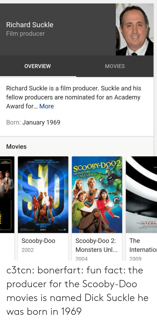 Overview: Richard Suckle  Film producer  OVERVIEW  MOVIES  Richard Suckle is a film producer. Suckle and his  fellow producers are nominated for an Academy  Award for... More  Born: January 1969  Movies  SCOOBY-Do92  MONSTEBS  INTERN  Scooby-Doo  2002  Scooby-Doo 2: The  Monsters Unl. Internatio  2004  2009 c3tcn:  bonerfart:  fun fact: the producer for the Scooby-Doo movies is named Dick Suckle  he was born in 1969