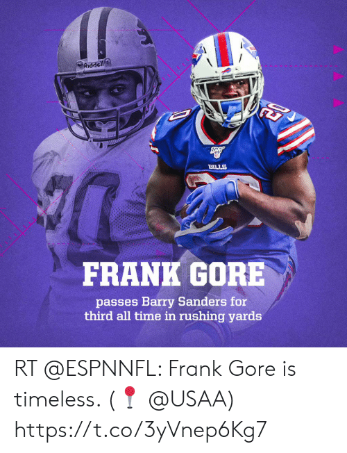 Frank Gore: Riddell  7  BILLS  FRANK GORE  passes Barry Sanders for  third all time in rushing yards RT @ESPNNFL: Frank Gore is timeless.   (📍 @USAA) https://t.co/3yVnep6Kg7