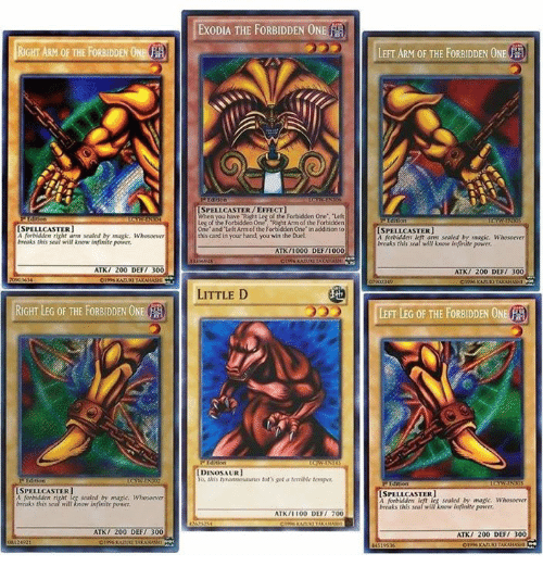 """300: RIGHT ARM OF THE FORBIDDEN ONE  CSPELLCASTER  forbidden right arm sealed by magic, Whosoever  s this seal will know infinite power.  ATK  00 DEF/ 300  RIGHT LEG OF THE FORBIDDEN ON  ISPELLCASTER  right sealed by Whosoever  breaks this seal will know infinite power,  ATK  200 DEF/ 300  EXODIA THE FORBIDDEN ON  A  in  SPELL CASTER /EFFECT]  When Right Les  of the Forbidden One"""", """"Let  the Forbidden Right One and Armof the Forbidden One"""" in addition to  this card in your hand, you win the Duel  ATK  000 DEF  LITTLE D  IDINOSAURI  ATK  00 DEF  700  HH  LEFT ARM OF THE FORBIDDEN ONE  LSPELLCASTER)  A arm sealed Whosoerr  this seal will know infinite power,  ATK 200 DEF/ 300  LEFT LEG OF THE FORBIDDEN ONE  ISPELL CASTER]  sealed by magic Whosoner  breaks this seal will know infinite ponser  ATK  200 DEF  300"""
