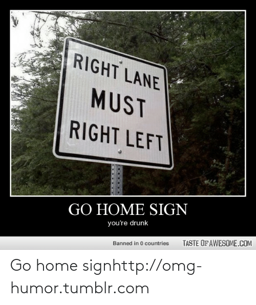 Taste Of Awesome: RIGHT LANE  MUST  RIGHT LEFT  GO HOME SIGN  you're drunk  TASTE OF AWESOME.COM  Banned in 0 countries Go home signhttp://omg-humor.tumblr.com