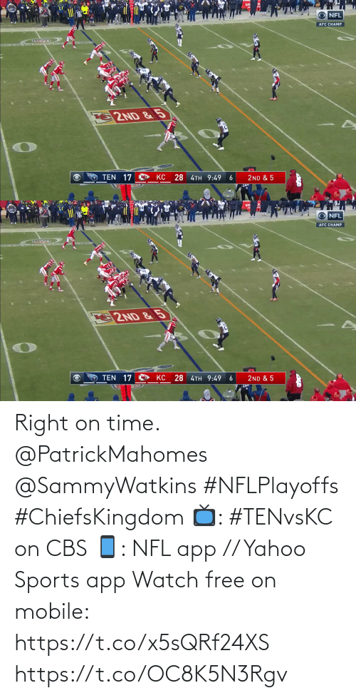 yahoo sports: Right on time. @PatrickMahomes @SammyWatkins #NFLPlayoffs #ChiefsKingdom  📺: #TENvsKC on CBS 📱: NFL app // Yahoo Sports app Watch free on mobile: https://t.co/x5sQRf24XS https://t.co/OC8K5N3Rgv
