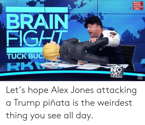 Pinata: RIGHT  WING  WATCH  ORG  BRAIN  FIGHT  TUCK BUC  RKR  INFO  WARS  WA Let's hope Alex Jones attacking a Trump piñata is the weirdest thing you see all day.