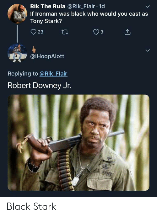Robert Downey Jr., Black, and Robert Downey Jr: Rik The Rula @Rik Flair.1d  If Ironman was black who would you cast as  Tony Stark?  @iHoopAlott  Replying to @Rik Flair  Robert Downey Jr. Black Stark