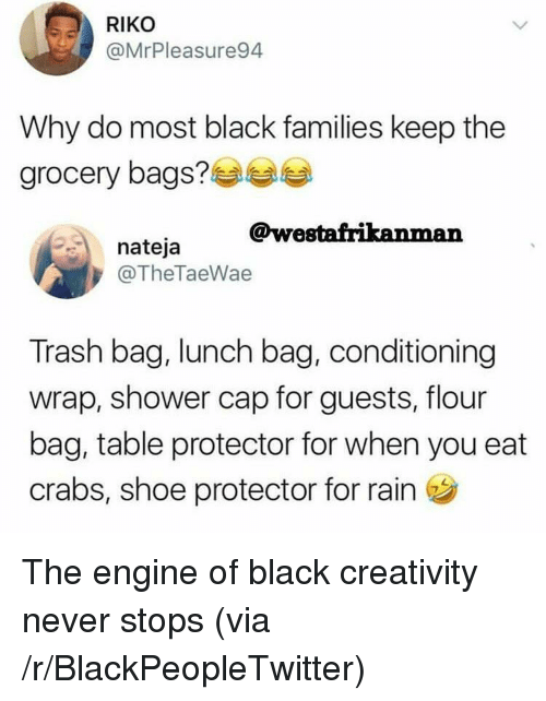 Blackpeopletwitter, Shower, and Trash: RIKO  @MrPleasure94  Why do most black families keep the  arocery bags?  @westafrikanman  nateja  @TheTaeWae  Trash bag, lunch bag, conditioning  wrap, shower cap for guests, flour  bag, table protector for when you eat  crabs, shoe protector for rain <p>The engine of black creativity never stops (via /r/BlackPeopleTwitter)</p>