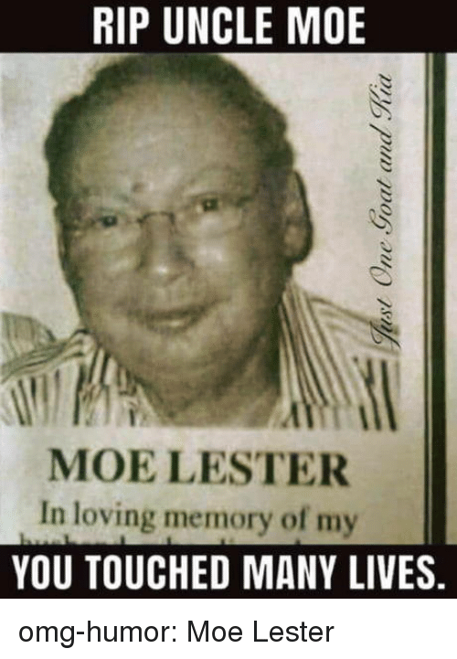 Omg, Tumblr, and Blog: RIP UNCLE MOE  MOE LESTER  In loving memory of my  YOU TOUCHED MANY LIVES. omg-humor:  Moe Lester